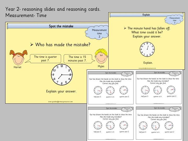 Reasoning slides and cards- Year 2- measurement- time