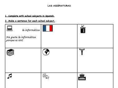 """Spanish activities """"mi instituto"""""""