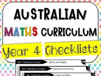Year 4 Australian Maths Curriculum Checklists