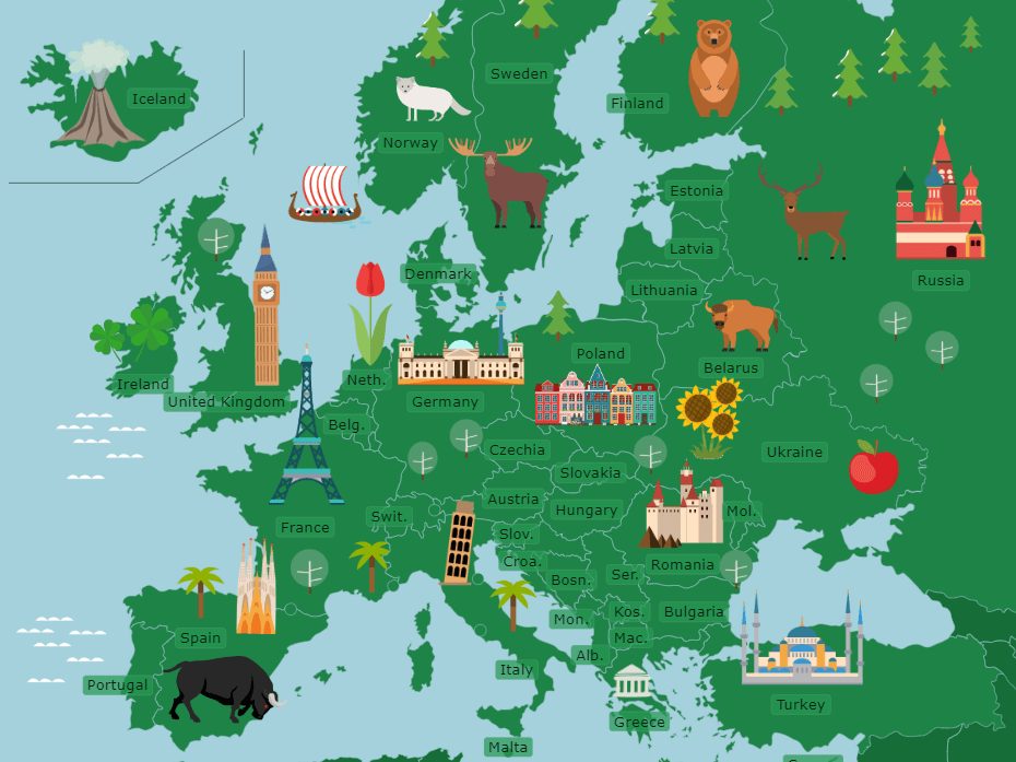 Label 15 European countries activity sheet - with answers!