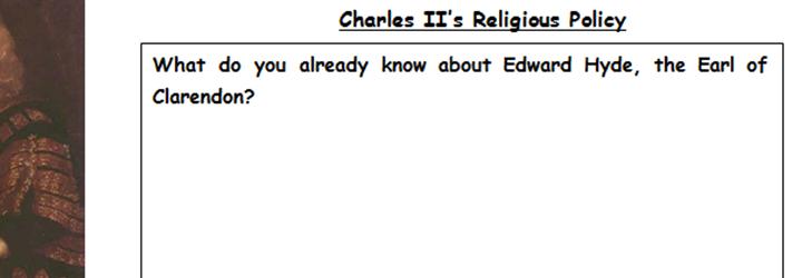 KS5 - Religious Policy of Charles II - Stuart Britain