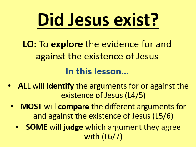 Did Jesus exist? observation  lesson with plan