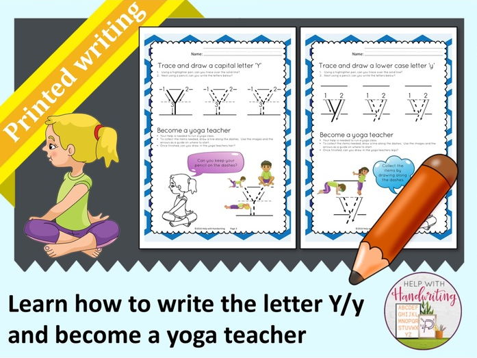 Learn how to write the letter Y (Printed style) and become a yoga teacher