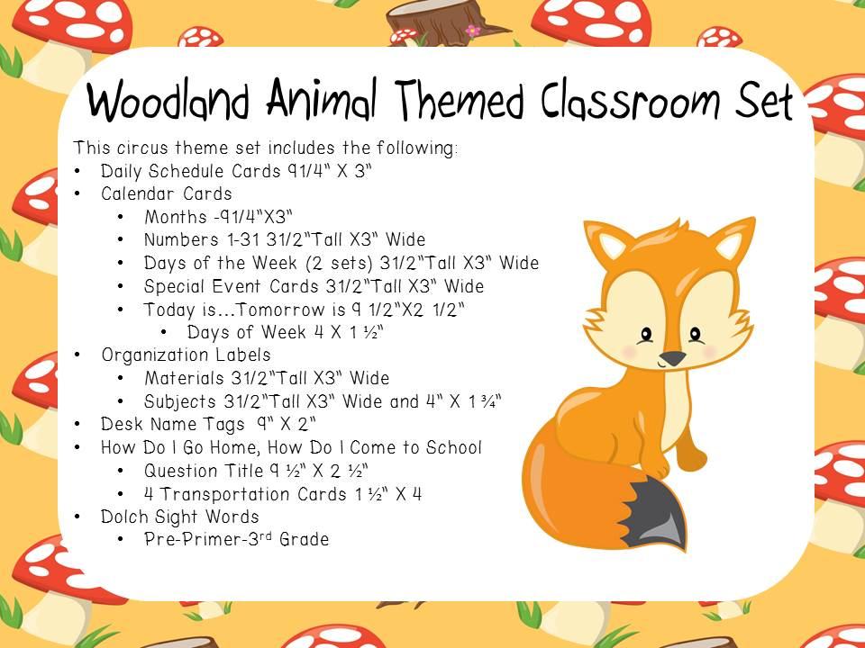 Classroom Display Set - Woodland Animal Theme