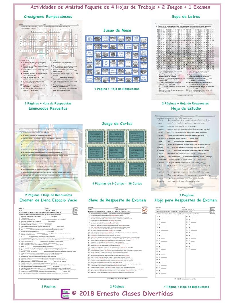 Friendship Activities Spanish Crossword Puzzle By Eslfungames