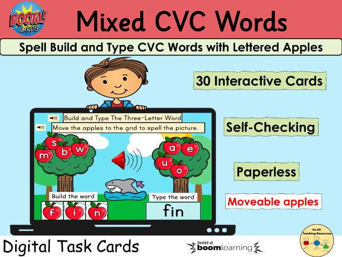 CVC Words Spell Build Apples Fruit Autumn Fall BOOM Cards™ Distance Home Learning