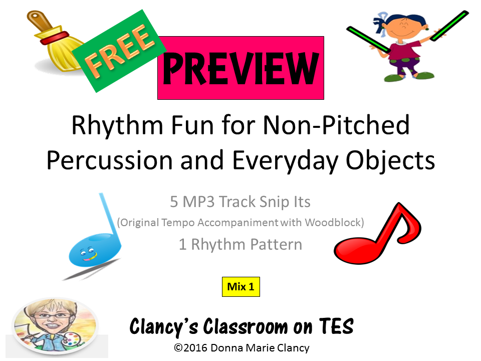 FREE PREVIEW!!! for Rhythm Fun for Non-Pitched Percussion & Ordinary Objects Mix 1 with MP3 Files
