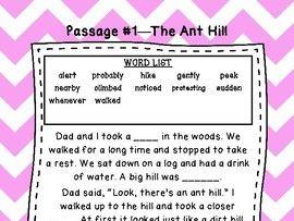 First Grade Cloze Reading Passages Set A (#1-10)