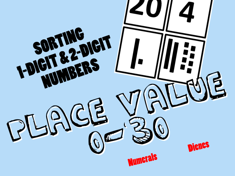 Place Value - Sorting 0-30 into 1-digit and 2-digit numbers with pictorial representations