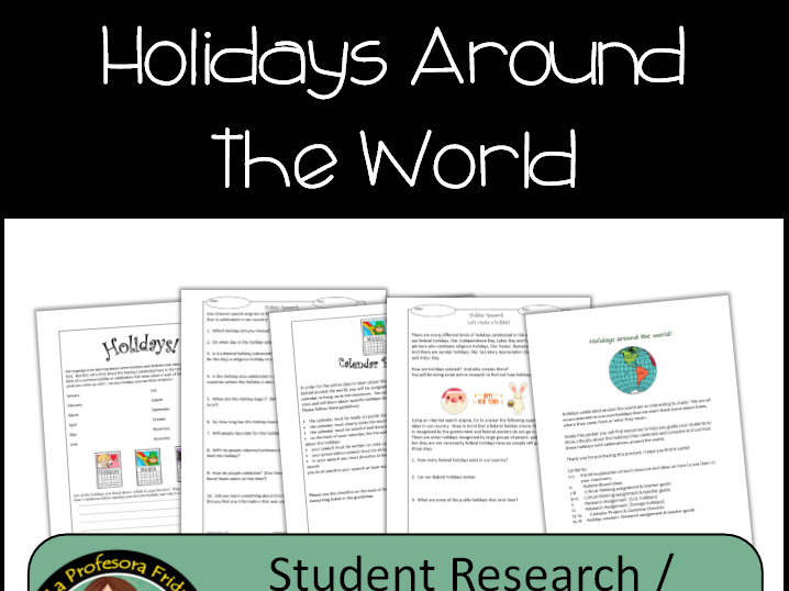 Holidays Around the World, Research & Project
