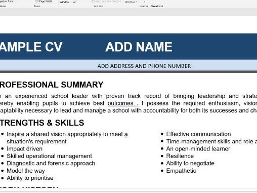 CV/ Resume ( Head teacher/ Senior leaders)