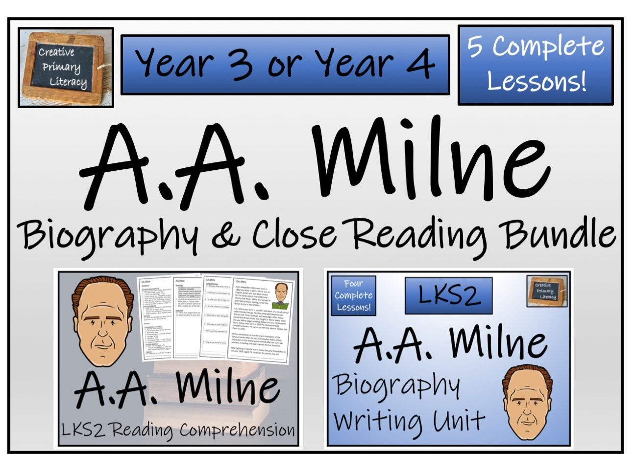 LKS2 Literacy - A.A. Milne Reading Comprehension & Biography Bundle