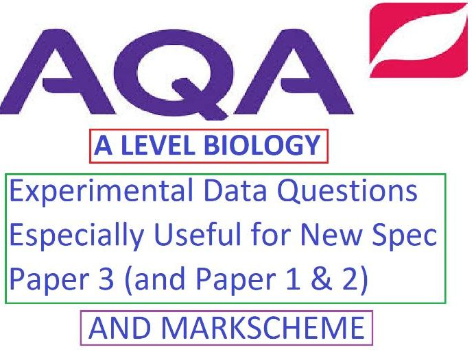 AQA A Level Biology Experimental Data Questions  NEW SPEC