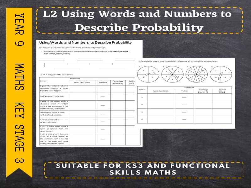 Probability-Using Words and Numbers to Describe Probability