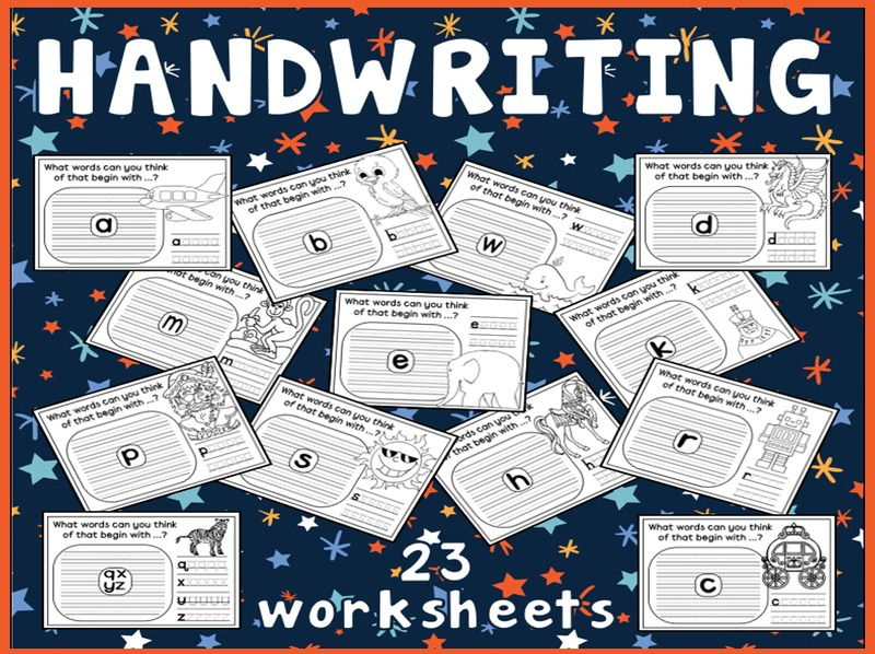 HANDWRITING WORKSHEETS TEACHING RESOURCES ENGLISH WRITING LETTERS b&w