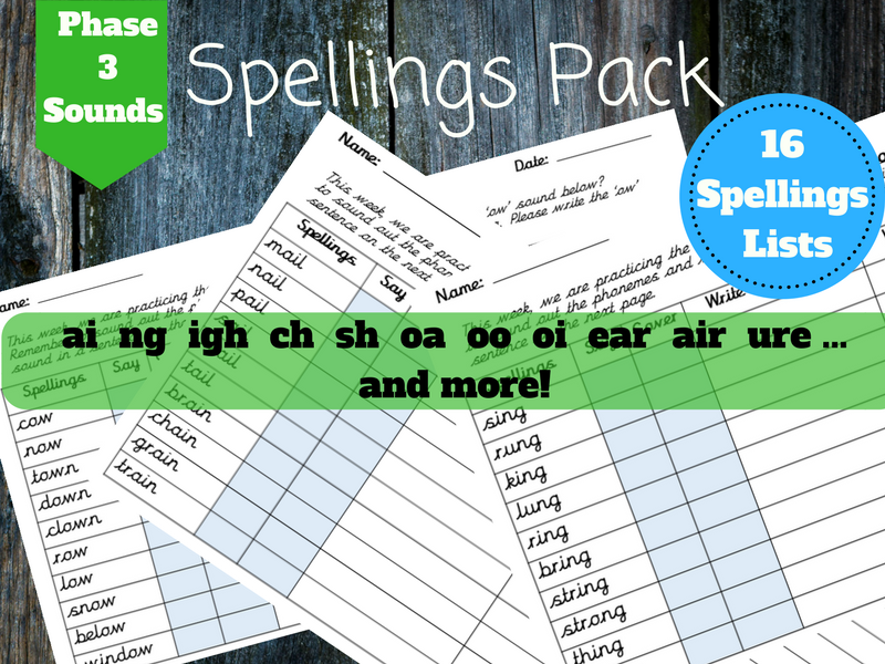 Spellings Pack - Phase 3 Sounds