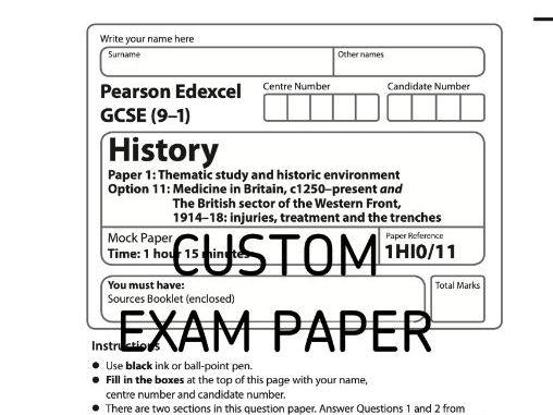 Custom Mock Paper Edexcel GCSE (9-1) History Option 11