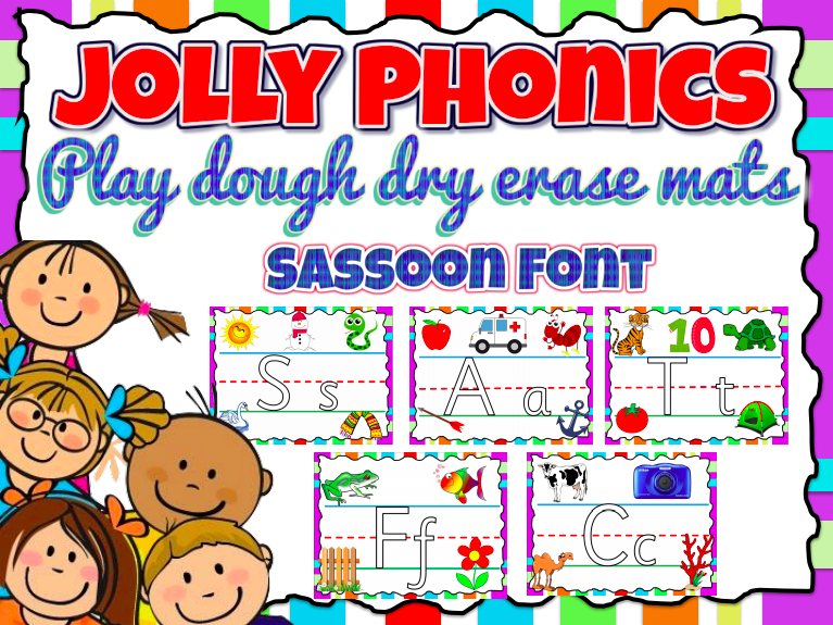 Jolly Phonics Playdough-Dry Erase Mats - Sassoon Font (45 pages)