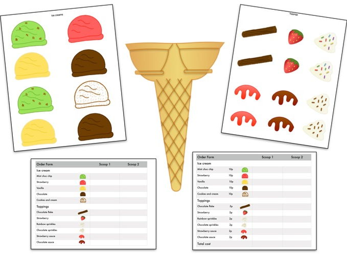 Ice cream cut & stick; fine motor skills, EYFS, KS1, data, money, speaking & listening.