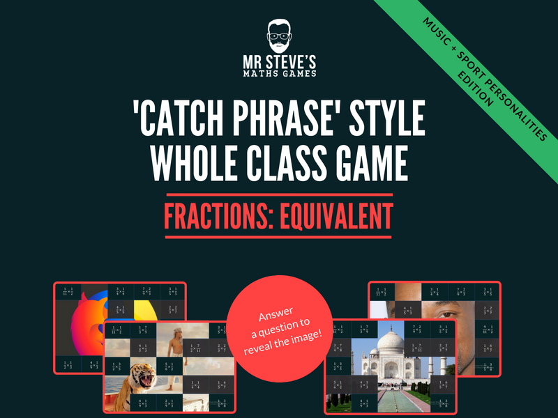 Fractions Whole Class Game All Operations + simplifying: Music and Sports People