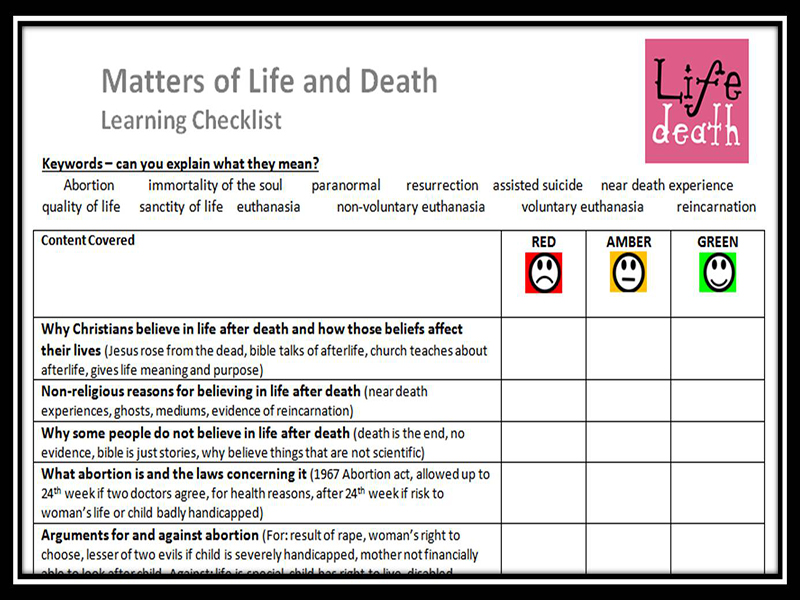 Learning Checklist: Matters of Life and Death