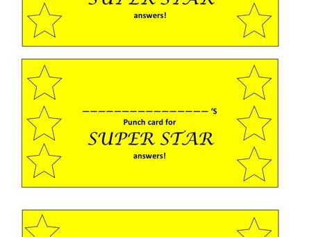 Super star answers punch card