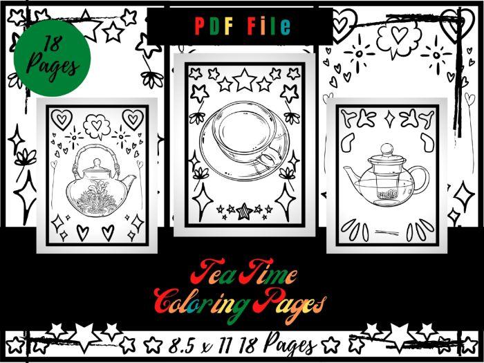 Tea Time Colouring Pages, Traditional Mug, Teapot Printable Colouring Sheets PDF
