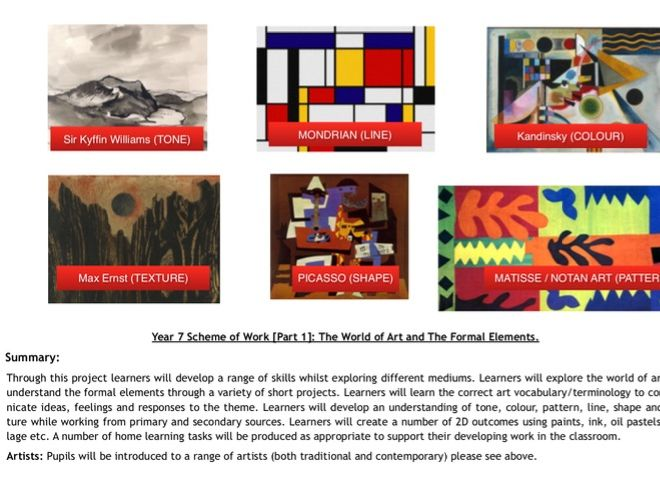 Year 7 Scheme of Work [Part 1]: The World of Art and The Formal Elements.