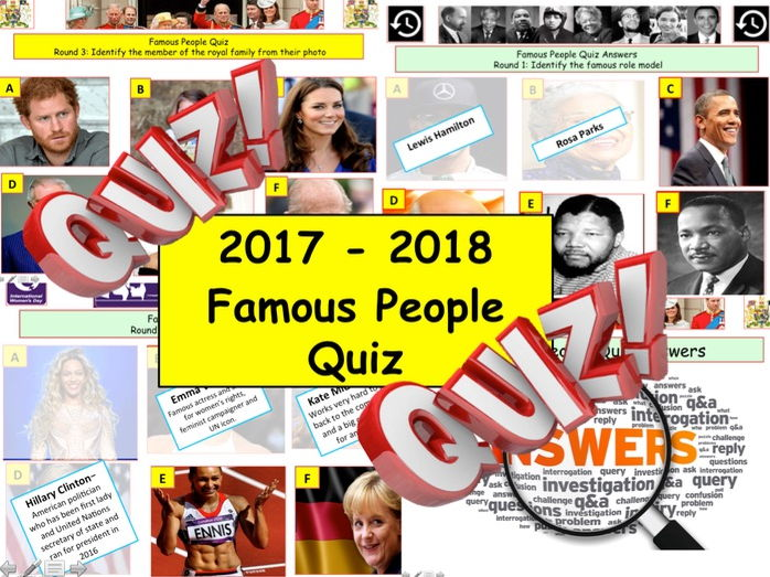 Famous People Quiz - Citizenship - End of term year Quiz. 9 Rounds and over 54 Questions Quiz