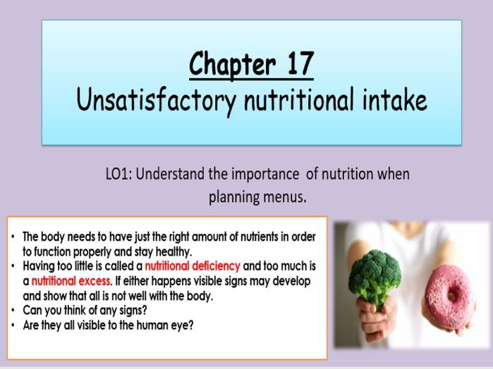 WJEC Hospitality and Catering Unit 2 Chapter 17 Unsatisfactory Nutritional Intake