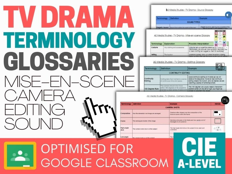 TV Drama and Film Terminology Glossaries - CIE AS - Mise-en-scene, Camera, Editing and Sound