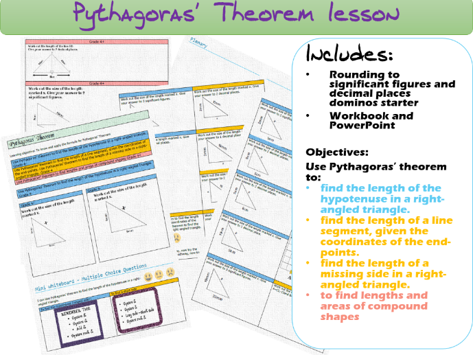Pythagoras' Theorem Lesson with all resources (Download, Print and Teach)