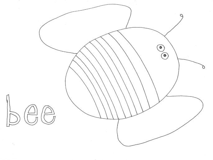 Bee (Bugs, Insects, Minibeasts) Colouring Page