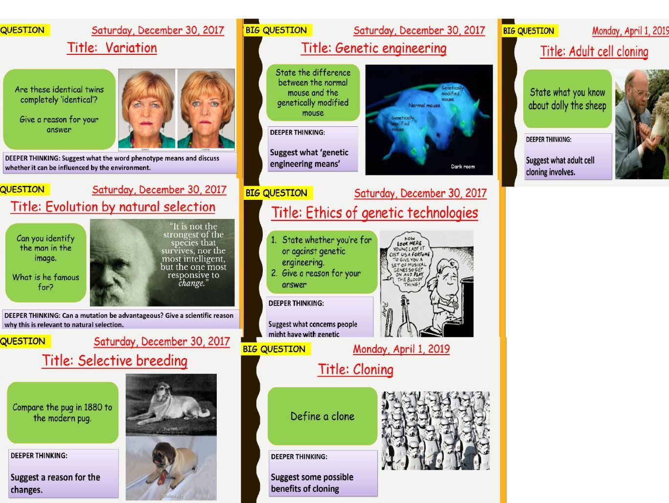 AQA new specification-B14 Variation and evolution-Separate science bundle