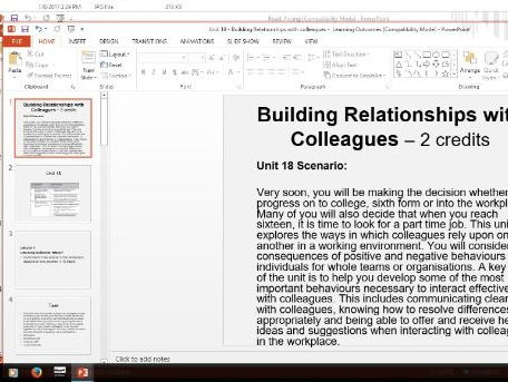 Work skills lesson - Building relationships with colleagues