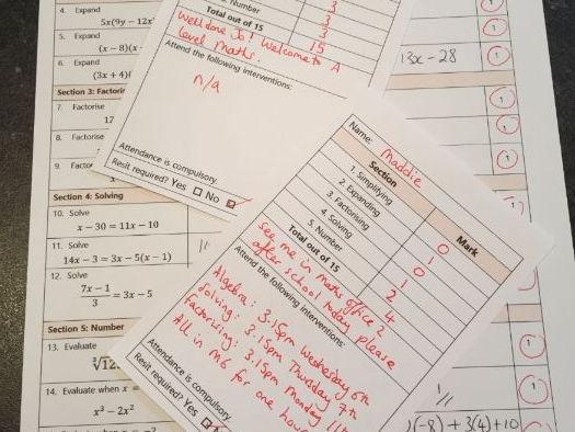 Year 12 Maths Entry Assessment