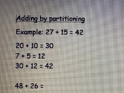 Adding by partitioning worksheet