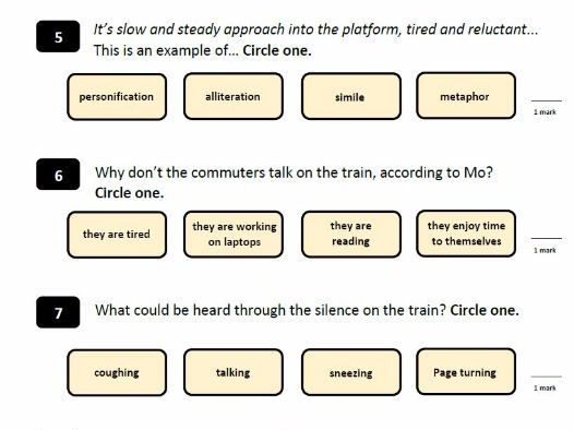 KS2 SATS 2016 - Reading Comprehension - Rush Hour