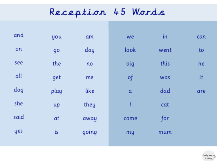 Reception 45 Words Word Mat
