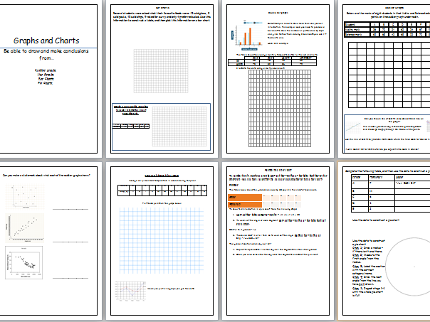 Functional Skills / GCSE Maths Bar charts, Scatter graphs,Pie charts and Line graphs basics workbook