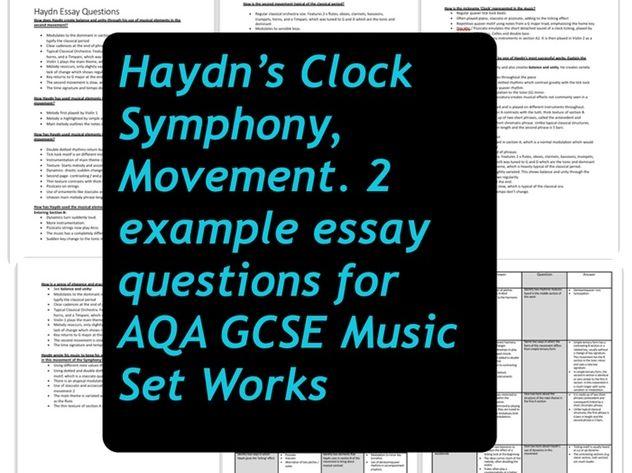 Haydn's Clock Symphony Mvt. 2 - Example Essay Questions