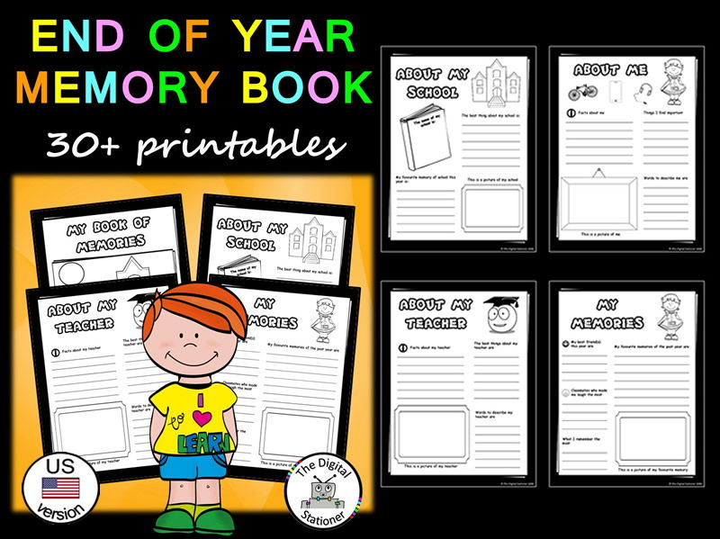 End of Year Activity Memory Book (US version) - 30+ printables