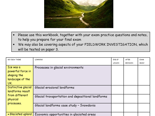 AQA GCSE glaciation booklet