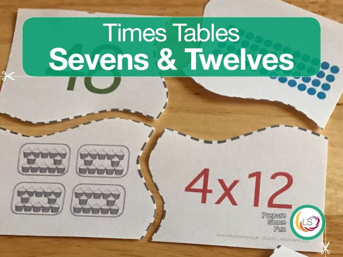 Times Tables Matching Puzzle SEVEN'S & TWELVE'S