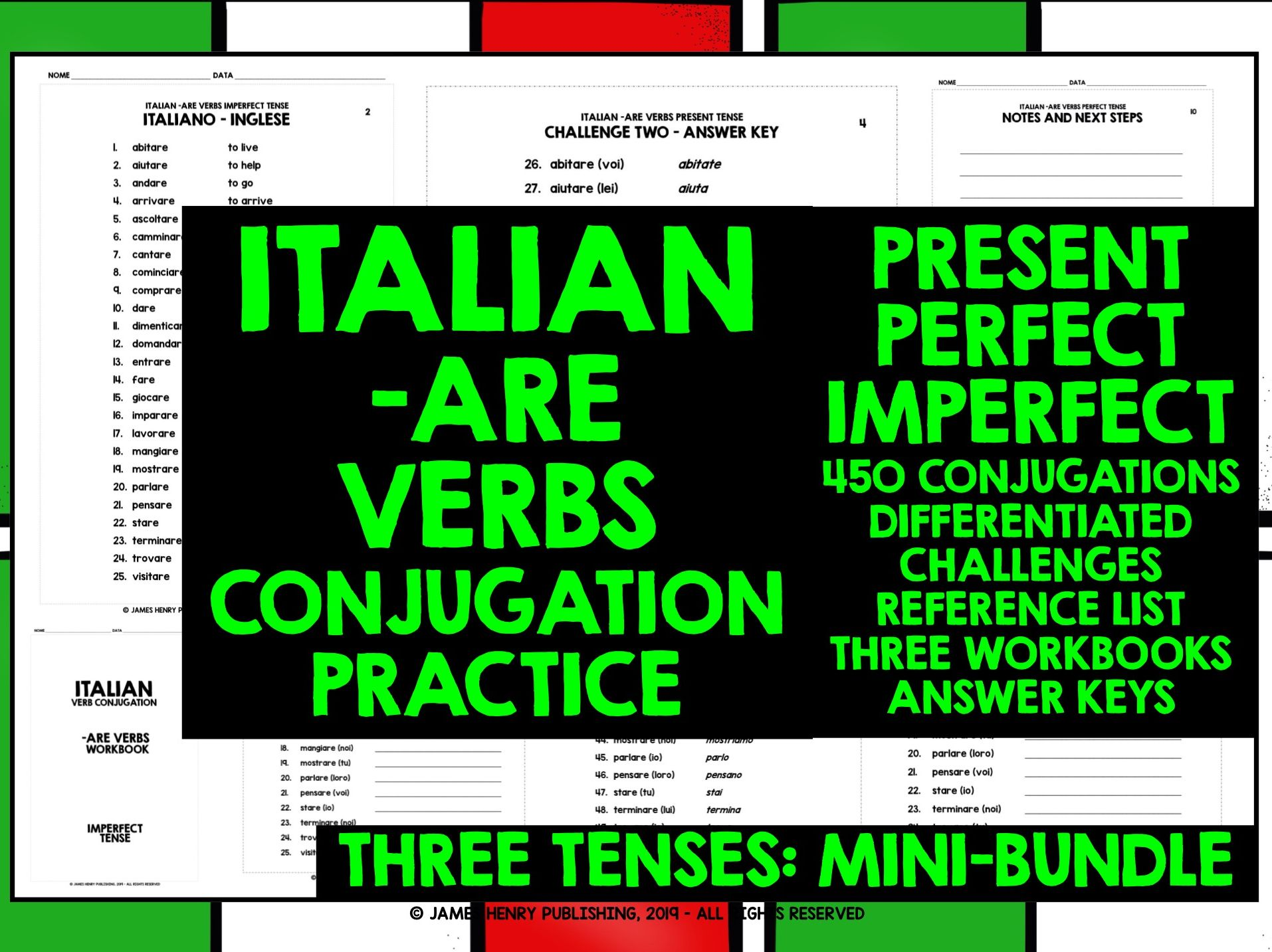 ITALIAN -ARE VERBS CONJUGATION MINI-BUNDLE #1