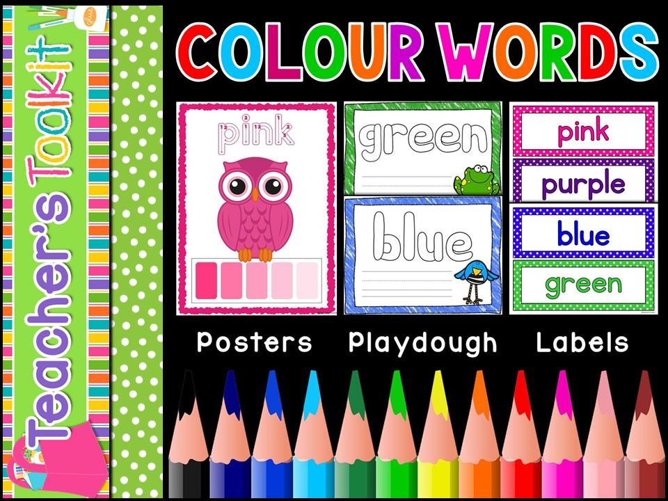 Colour Words | Posters | Playdough Mats | Labels