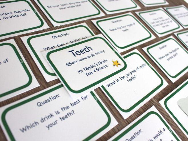 Year 4 Quiz Cards - Teeth
