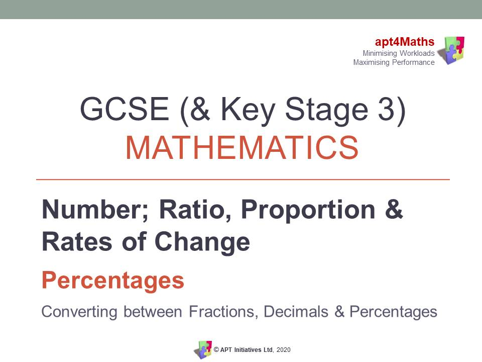 apt4Maths: PowerPoint Presentation on Percentages -  FDP CONVERSIONS  for GCSE (& KS3) Maths