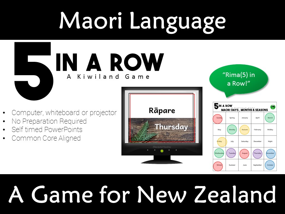 Maori Language Days Months and Seasons PowerPoint 5 in a Row Game New Zealand Te Reo