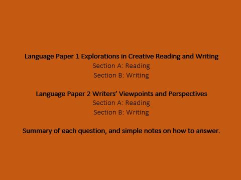 GCSE English Language Papers summary